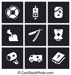 Vector Set of Drug Overdose Icons Help, Dose, Addict,...