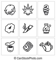 Vector Set of Rastaman Icons. Dreadlocks, Marijuana, Light,...