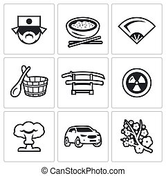 Vector Set of Japan Icons Japanese, Food, Fan, Bath, Sword,...