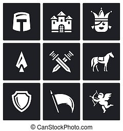 Vector Set of Kingdom Icons. Knight, Castle, Princess, Arms, Battle, Horse, Protection, Banner, Love.
