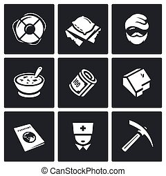Vector Set of Homeless Icons. Help, Homelessness, Tramp,...