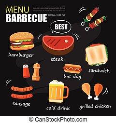 barbecue menu party. BBQ invitation template menu design set