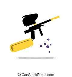 Vector Paintball Gun Cartoon Illustration - Weapon for...