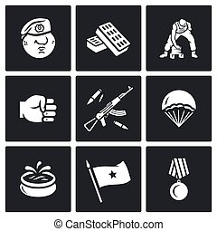 Vector Set of Russia Airborne troops Icons Soldier, Beret,...