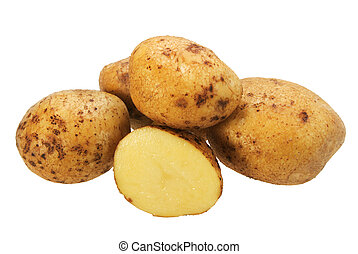Group of yellow potatos. Close-up. Isolated on white...