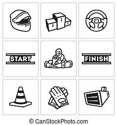 Vector Set of Karting Icons. Helmet, Pedestal, Steering...