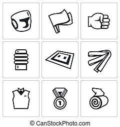 Vector Set of Karate Icons. Helmet, Flags, Fist, Makiwara,...