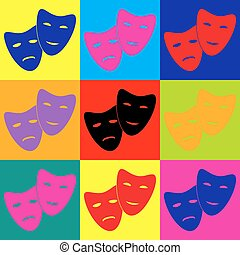 Theater icon with happy and sad masks. Pop-art style...