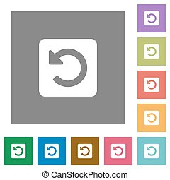 Rotate left square flat icons - Rotate left flat icon set on...