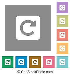Rotate right square flat icons - Rotate right flat icon set...