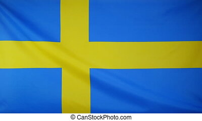 Sweden Flag real fabric Close up - Textile flag of Sweden...