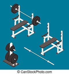 Press bench stand. - Isometric gym equipment. Gym workout...