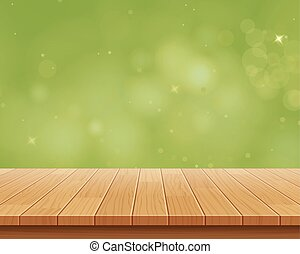 wood table top on green bokeh vector abstract background
