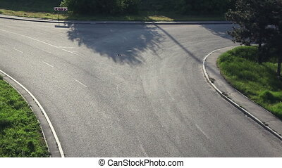 Crossroads Road. View from above. Movement of cars and...