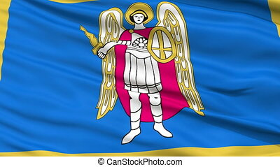Kiev City Close Up Waving Flag - Kiev Capital City Flag of...