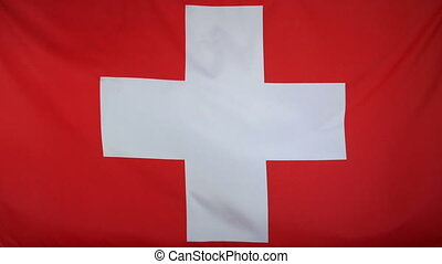Switzerland Flag real fabric - Textile flag of Switzerland...