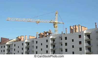 The construction crane working at the facility. Workers lay...