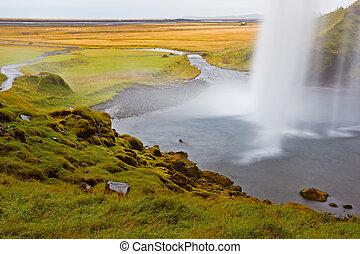 Seljalandfoss Waterfall, Iceland - Seljalandfoss Waterfall,...