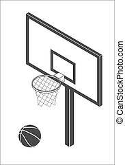 Basketball backboard icon - Isometric Basketball backboard...