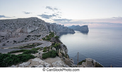 Panoramic view of Cape Formentor sunset in Mallorca - Wide...