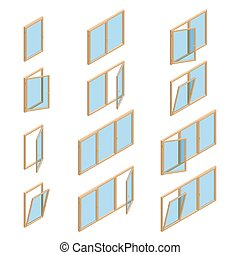 Vector collection of various windows types. For interior and exterior use. Flat 3d vector isometric style.