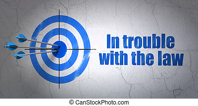 Law concept: target and In trouble With The law on wall background