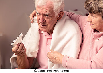 I'll help you in sickness - Senior woman supporting her ill,...
