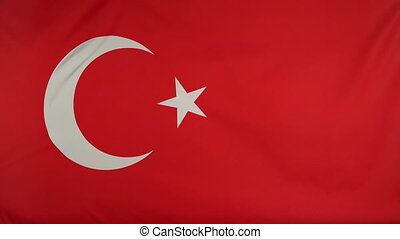 Turkey Flag real fabric Close up - Textile flag of Turkey...