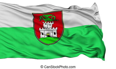 Ljubljana City Isolated Waving Flag - Ljubljana Capital City...