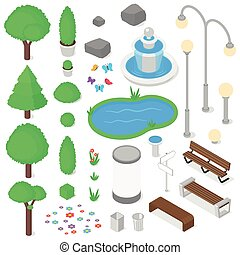 Park elements set. - Isolated park elements set. Isometric...