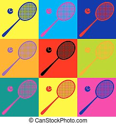 Tennis racquet icon Pop-art style colorful icons set