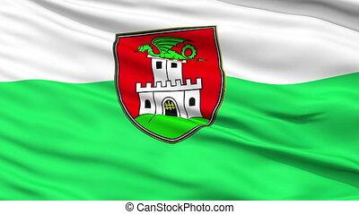 Ljubljana City Close Up Waving Flag - Ljubljana Capital City...