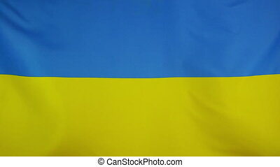 Ukraine Flag real fabric Close up - Textile flag of Ukraine...