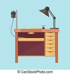 Jewellers bench illustration - Jewellers workplace ....