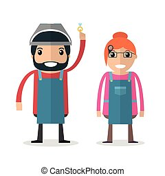 Jeweller masters. Man and woman. Jeweler profession. Vector...