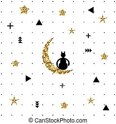 Cat sitting on the moon. Black cat, sitting on a golden moon. The pattern of the moon, a