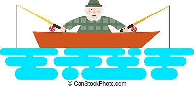 Fisherman on the boat. Illustration of a fishing boat - fisherman with two rods. The flat