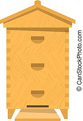 Bee hive on a white background. Traditional wooden beehive. Cartoon illustration of a