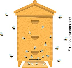 Beehive with bee on a white background. Traditional wooden beehive. Cartoon illustration