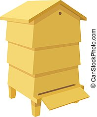 Wooden Beehive on a white background. Traditional  beehive. Cartoon illustration of a