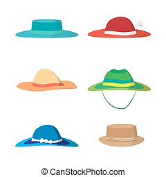 Set of different colored beach hats Headgear to protect...