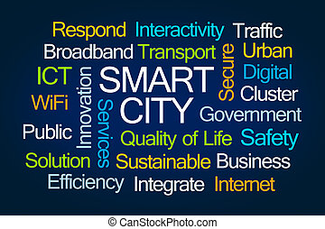 Smart City Word Cloud on Blue Background