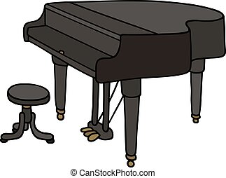 Black grand piano - Hand drawing of a classic black grand...