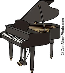 Black grand piano - Hand drawing of a classic black open...