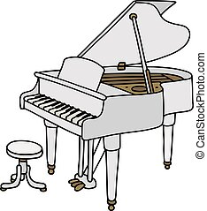 White grand piano - Hand drawing of a classic white open...