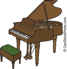 Classic grand piano - Hand drawing of a classic open grand...