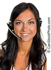 woman with headset - a young woman in an mcc telephoned...