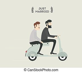 Wedding gay couple - Just married gay wedding couple riding...