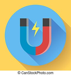 Vector icon horseshoe magnet. Symbol magnetism attraction....