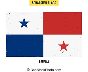 Panamanian grunge flag with little scratches on surface. A...